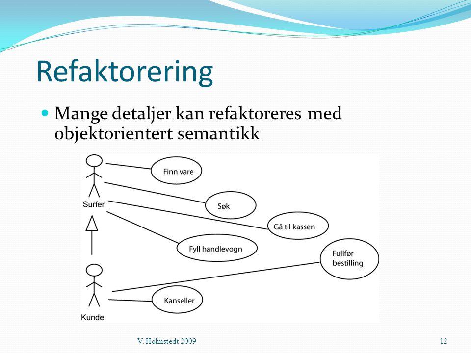 Refaktorering  Mange detaljer kan refaktoreres med objektorientert semantikk V. Holmstedt 200912