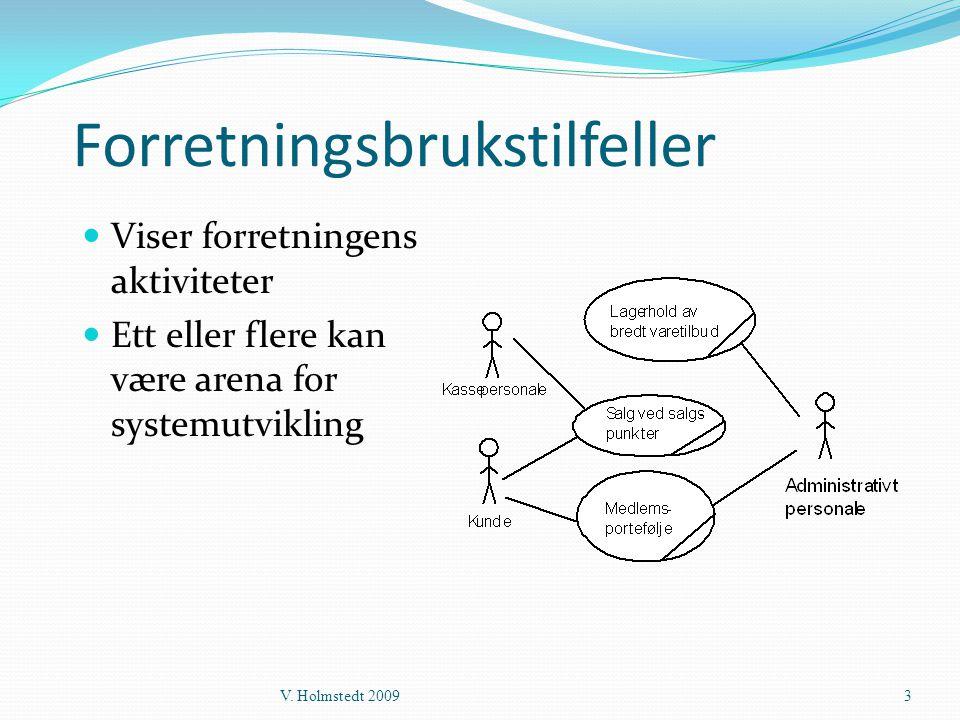 Forretningsbrukstilfeller  Viser forretningens aktiviteter  Ett eller flere kan være arena for systemutvikling V. Holmstedt 20093