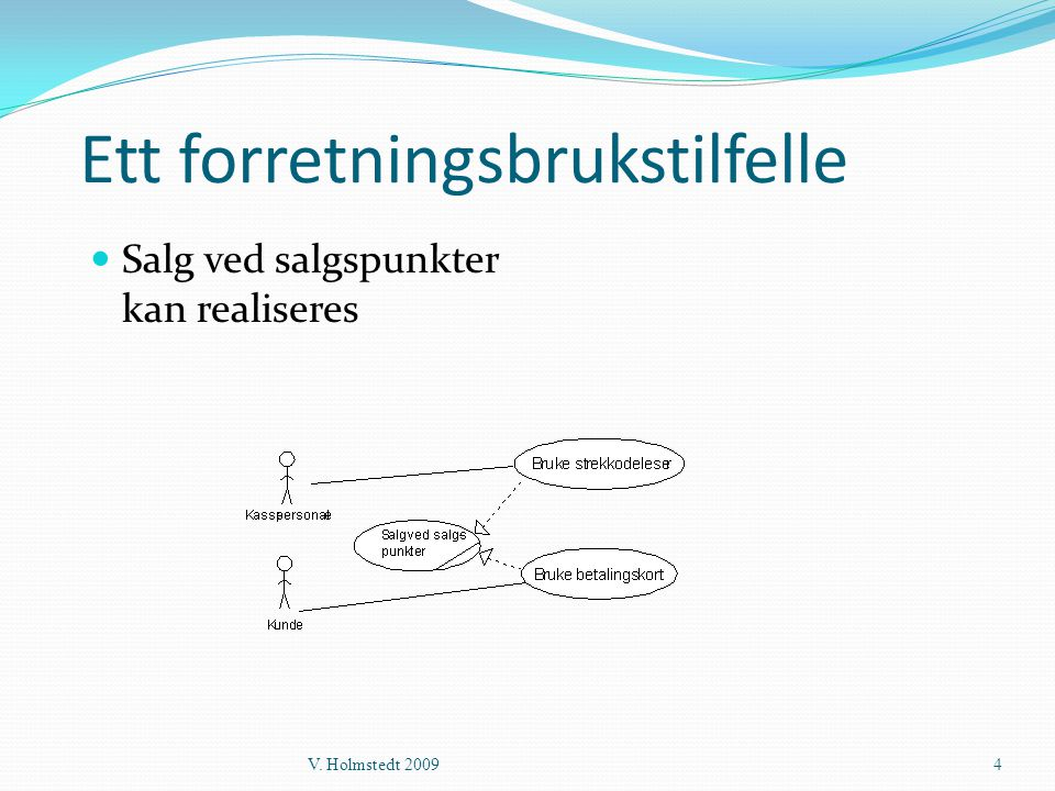 Ett forretningsbrukstilfelle  Salg ved salgspunkter kan realiseres V. Holmstedt 20094