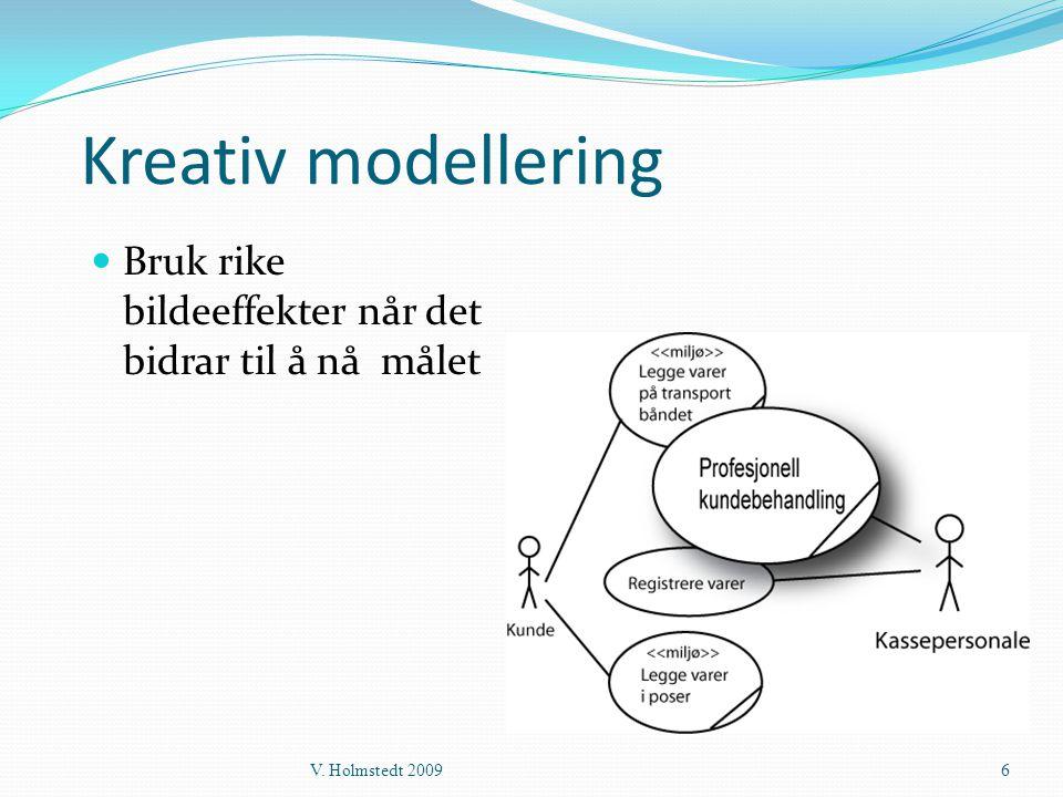 Kreativ modellering  Bruk rike bildeeffekter når det bidrar til å nå målet V. Holmstedt 20096