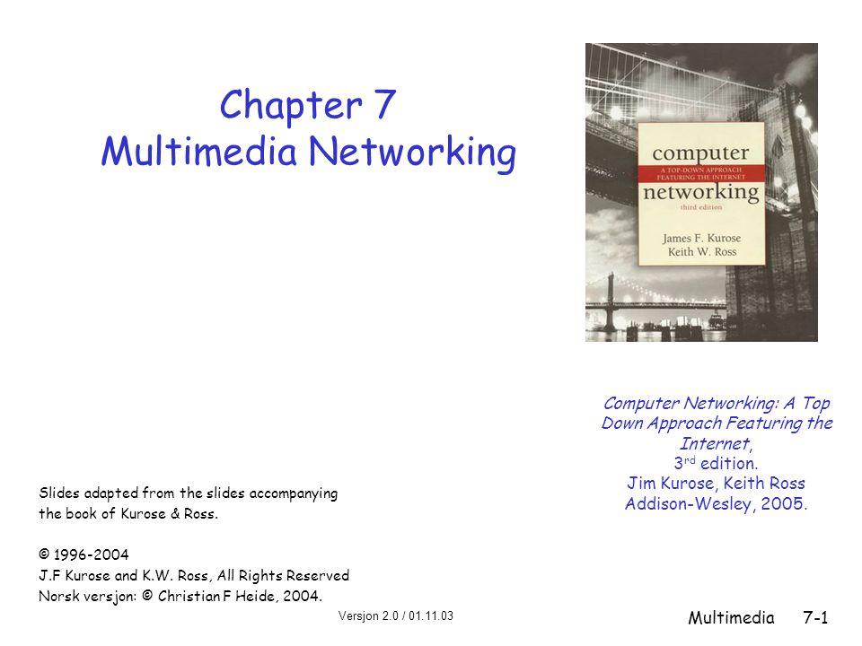 Versjon 2.0 / 01.11.03 Multimedia7-12 Hvordan burde Internett utvikle seg for bedre å kunne støtte multimedia.
