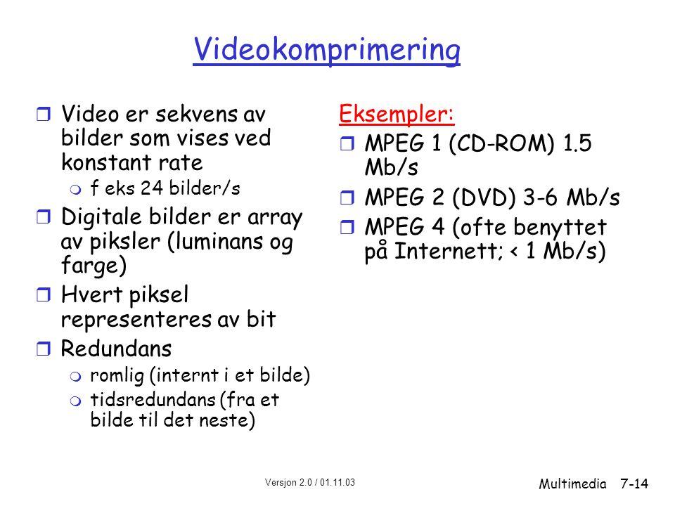 Versjon 2.0 / 01.11.03 Multimedia7-14 Videokomprimering r Video er sekvens av bilder som vises ved konstant rate m f eks 24 bilder/s r Digitale bilder er array av piksler (luminans og farge) r Hvert piksel representeres av bit r Redundans m romlig (internt i et bilde) m tidsredundans (fra et bilde til det neste) Eksempler: r MPEG 1 (CD-ROM) 1.5 Mb/s r MPEG 2 (DVD) 3-6 Mb/s r MPEG 4 (ofte benyttet på Internett; < 1 Mb/s)