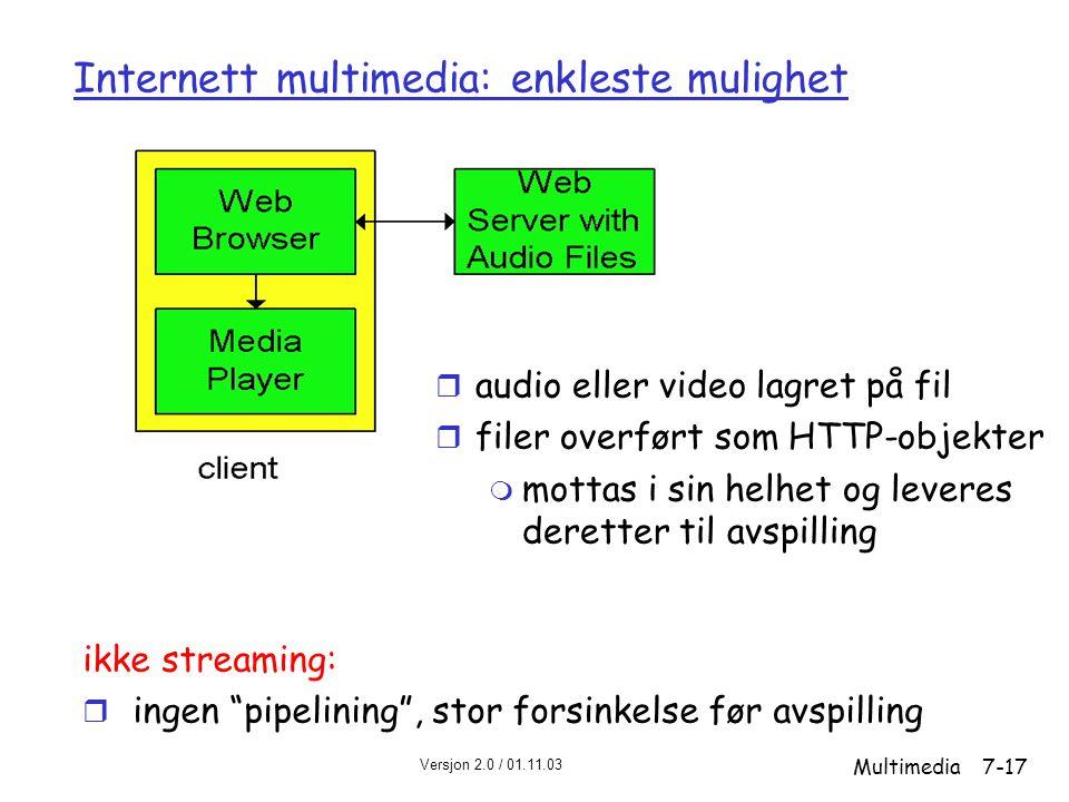 Versjon 2.0 / 01.11.03 Multimedia7-17 Internett multimedia: enkleste mulighet ikke streaming: r ingen pipelining , stor forsinkelse før avspilling r audio eller video lagret på fil r filer overført som HTTP-objekter m mottas i sin helhet og leveres deretter til avspilling