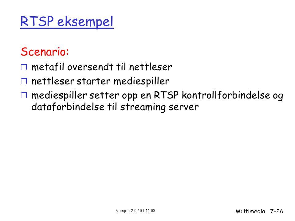 Versjon 2.0 / 01.11.03 Multimedia7-26 RTSP eksempel Scenario: r metafil oversendt til nettleser r nettleser starter mediespiller r mediespiller setter opp en RTSP kontrollforbindelse og dataforbindelse til streaming server