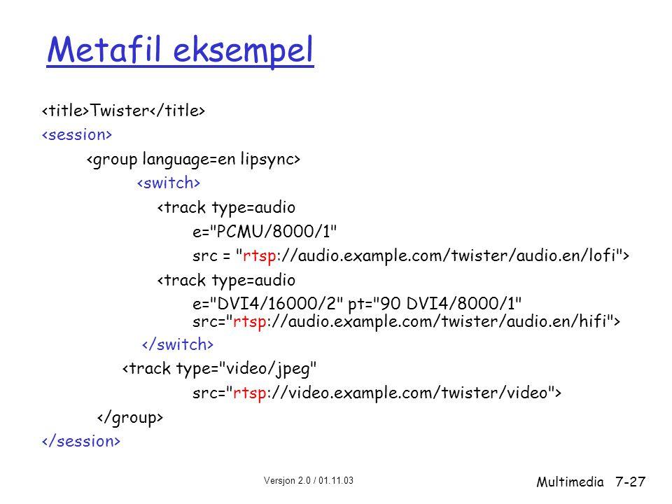 Versjon 2.0 / 01.11.03 Multimedia7-27 Metafil eksempel Twister <track type=audio e= PCMU/8000/1 src = rtsp://audio.example.com/twister/audio.en/lofi > <track type=audio e= DVI4/16000/2 pt= 90 DVI4/8000/1 src= rtsp://audio.example.com/twister/audio.en/hifi > <track type= video/jpeg src= rtsp://video.example.com/twister/video >