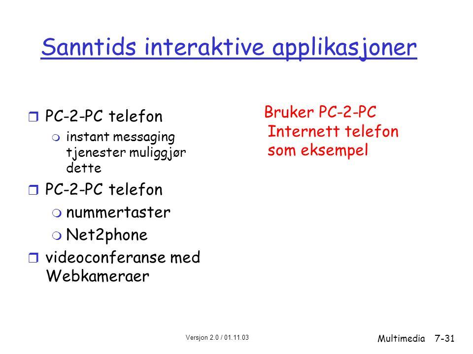 Versjon 2.0 / 01.11.03 Multimedia7-31 Sanntids interaktive applikasjoner r PC-2-PC telefon m instant messaging tjenester muliggjør dette r PC-2-PC telefon m nummertaster m Net2phone r videoconferanse med Webkameraer Bruker PC-2-PC Internett telefon som eksempel