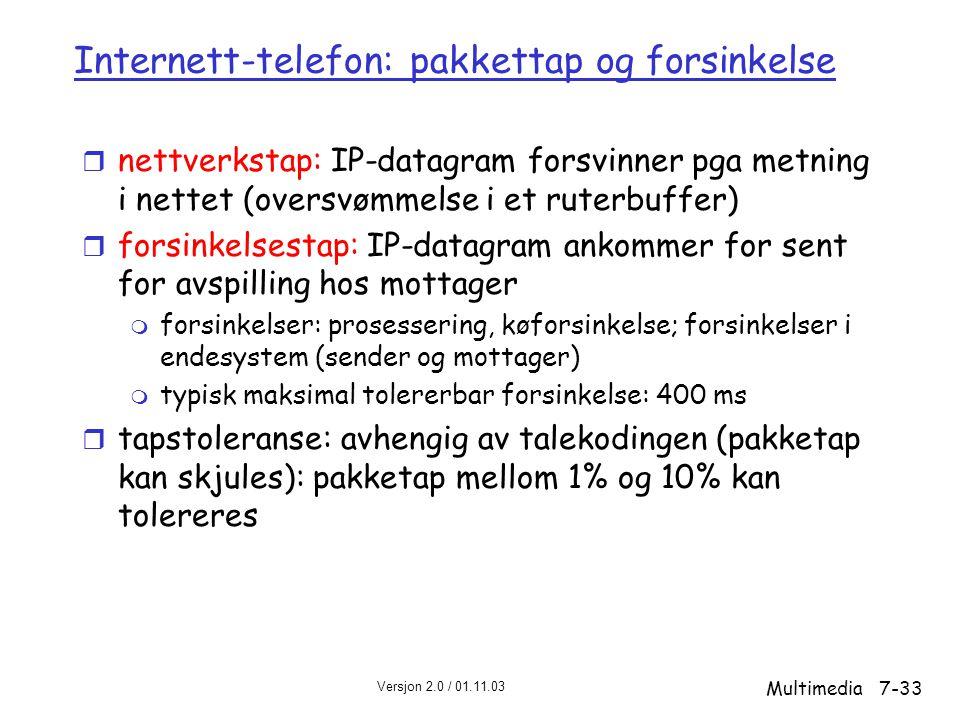 Versjon 2.0 / 01.11.03 Multimedia7-33 Internett-telefon: pakkettap og forsinkelse r nettverkstap: IP-datagram forsvinner pga metning i nettet (oversvømmelse i et ruterbuffer) r forsinkelsestap: IP-datagram ankommer for sent for avspilling hos mottager m forsinkelser: prosessering, køforsinkelse; forsinkelser i endesystem (sender og mottager) m typisk maksimal tolererbar forsinkelse: 400 ms r tapstoleranse: avhengig av talekodingen (pakketap kan skjules): pakketap mellom 1% og 10% kan tolereres