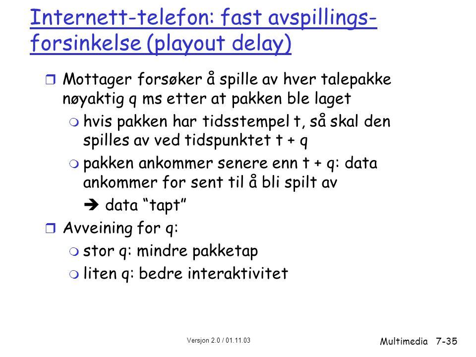 Versjon 2.0 / 01.11.03 Multimedia7-35 Internett-telefon: fast avspillings- forsinkelse (playout delay) r Mottager forsøker å spille av hver talepakke nøyaktig q ms etter at pakken ble laget m hvis pakken har tidsstempel t, så skal den spilles av ved tidspunktet t + q m pakken ankommer senere enn t + q: data ankommer for sent til å bli spilt av  data tapt r Avveining for q: m stor q: mindre pakketap m liten q: bedre interaktivitet