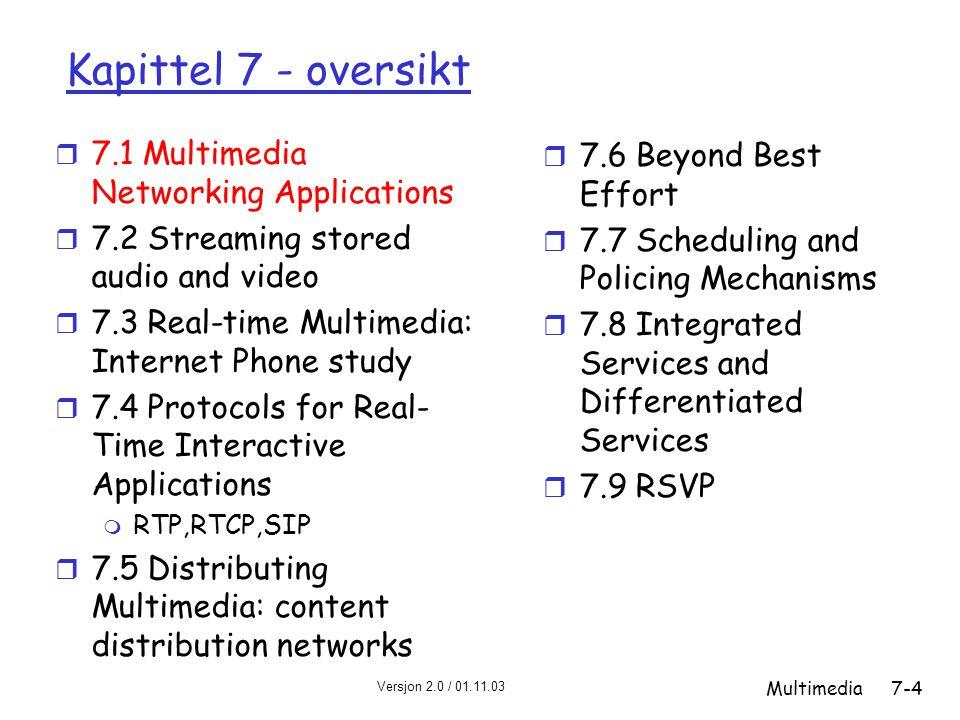 Versjon 2.0 / 01.11.03 Multimedia7-55 RTCP båndbreddeskalering r RTCP forsøker å begrense sin trafikk til 5% av sesjonens båndbredde Eksempel r Anta at vi har en sender som sender video på 2 Mb/s.