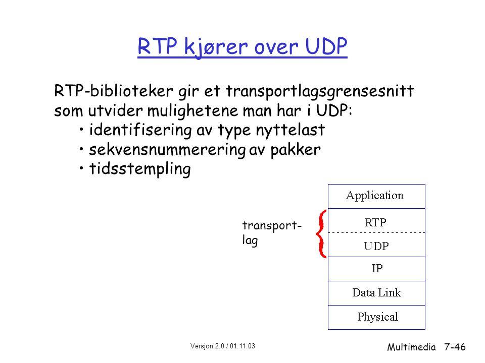 Versjon 2.0 / 01.11.03 Multimedia7-46 RTP kjører over UDP RTP-biblioteker gir et transportlagsgrensesnitt som utvider mulighetene man har i UDP: • identifisering av type nyttelast • sekvensnummerering av pakker • tidsstempling transport- lag