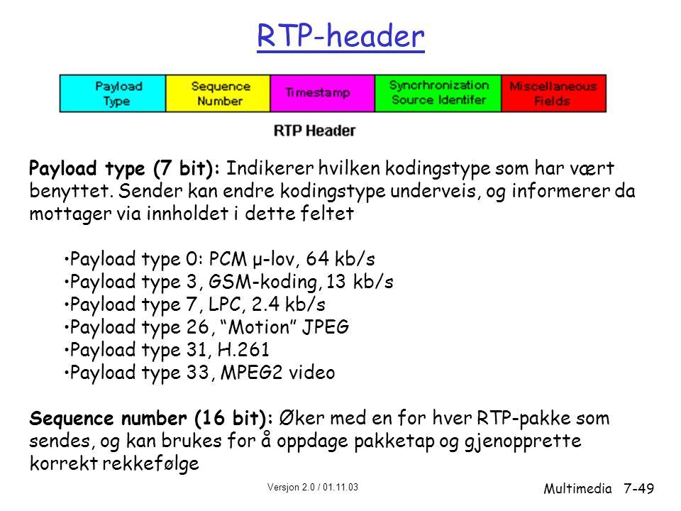 Versjon 2.0 / 01.11.03 Multimedia7-49 RTP-header Payload type (7 bit): Indikerer hvilken kodingstype som har vært benyttet.