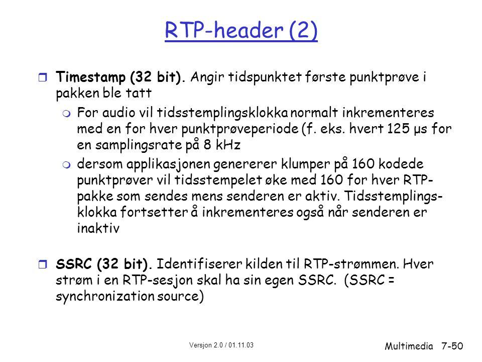 Versjon 2.0 / 01.11.03 Multimedia7-50 RTP-header (2) r Timestamp (32 bit).