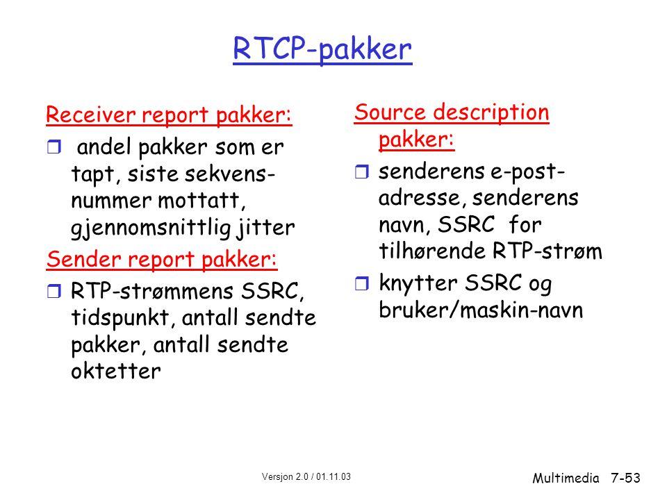 Versjon 2.0 / 01.11.03 Multimedia7-53 RTCP-pakker Receiver report pakker: r andel pakker som er tapt, siste sekvens- nummer mottatt, gjennomsnittlig jitter Sender report pakker: r RTP-strømmens SSRC, tidspunkt, antall sendte pakker, antall sendte oktetter Source description pakker: r senderens e-post- adresse, senderens navn, SSRC for tilhørende RTP-strøm r knytter SSRC og bruker/maskin-navn
