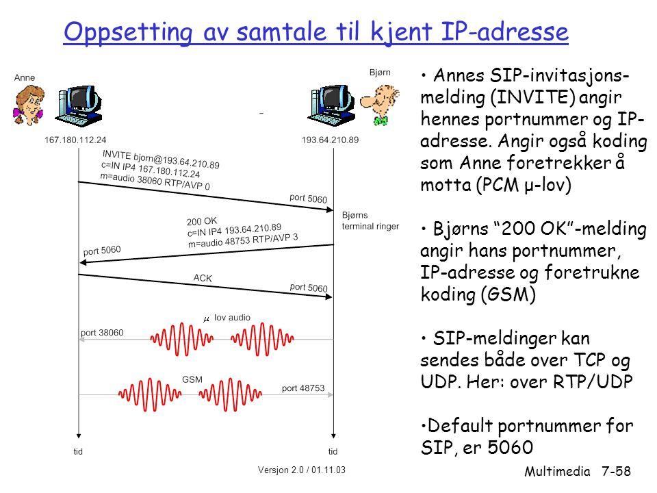 Versjon 2.0 / 01.11.03 Multimedia7-58 Oppsetting av samtale til kjent IP-adresse • Annes SIP-invitasjons- melding (INVITE) angir hennes portnummer og IP- adresse.