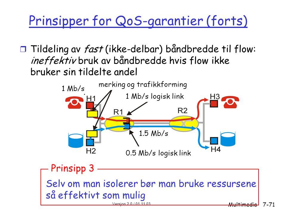 Versjon 2.0 / 01.11.03 Multimedia7-71 Prinsipper for QoS-garantier (forts) r Tildeling av fast (ikke-delbar) båndbredde til flow: ineffektiv bruk av båndbredde hvis flow ikke bruker sin tildelte andel Selv om man isolerer bør man bruke ressursene så effektivt som mulig Prinsipp 3 merking og trafikkforming 1 Mb/s 1.5 Mb/s 0.5 Mb/s logisk link 1 Mb/s logisk link