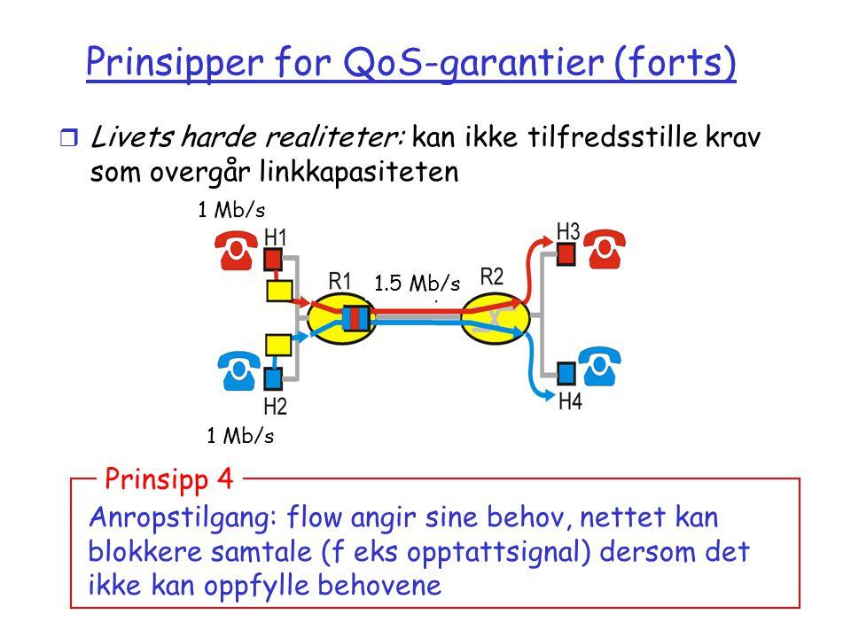 Versjon 2.0 / 01.11.03 Multimedia7-72 Prinsipper for QoS-garantier (forts) r Livets harde realiteter: kan ikke tilfredsstille krav som overgår linkkapasiteten Anropstilgang: flow angir sine behov, nettet kan blokkere samtale (f eks opptattsignal) dersom det ikke kan oppfylle behovene Prinsipp 4 1 Mb/s 1.5 Mb/s 1 Mb/s