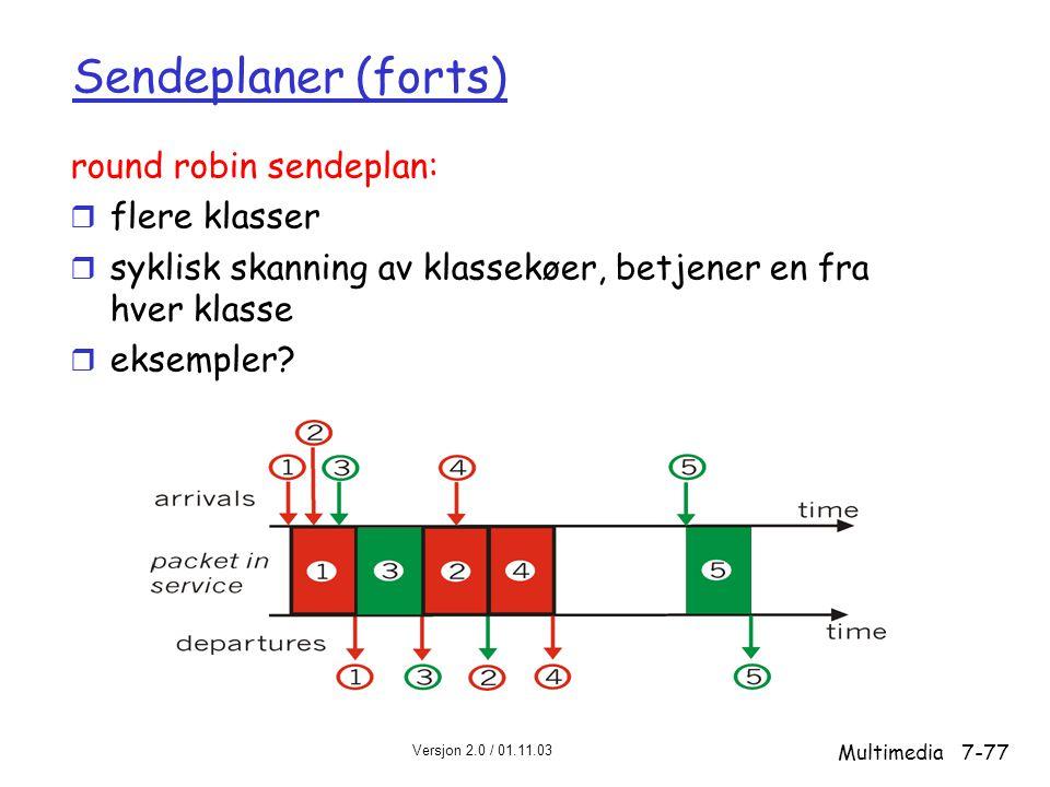 Versjon 2.0 / 01.11.03 Multimedia7-77 Sendeplaner (forts) round robin sendeplan: r flere klasser r syklisk skanning av klassekøer, betjener en fra hver klasse r eksempler?