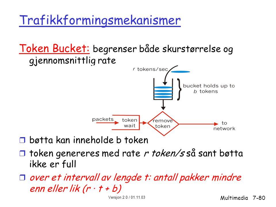 Versjon 2.0 / 01.11.03 Multimedia7-80 Trafikkformingsmekanismer Token Bucket: begrenser både skurstørrelse og gjennomsnittlig rate r bøtta kan inneholde b token r token genereres med rate r token/s så sant bøtta ikke er full r over et intervall av lengde t: antall pakker mindre enn eller lik (r · t + b)