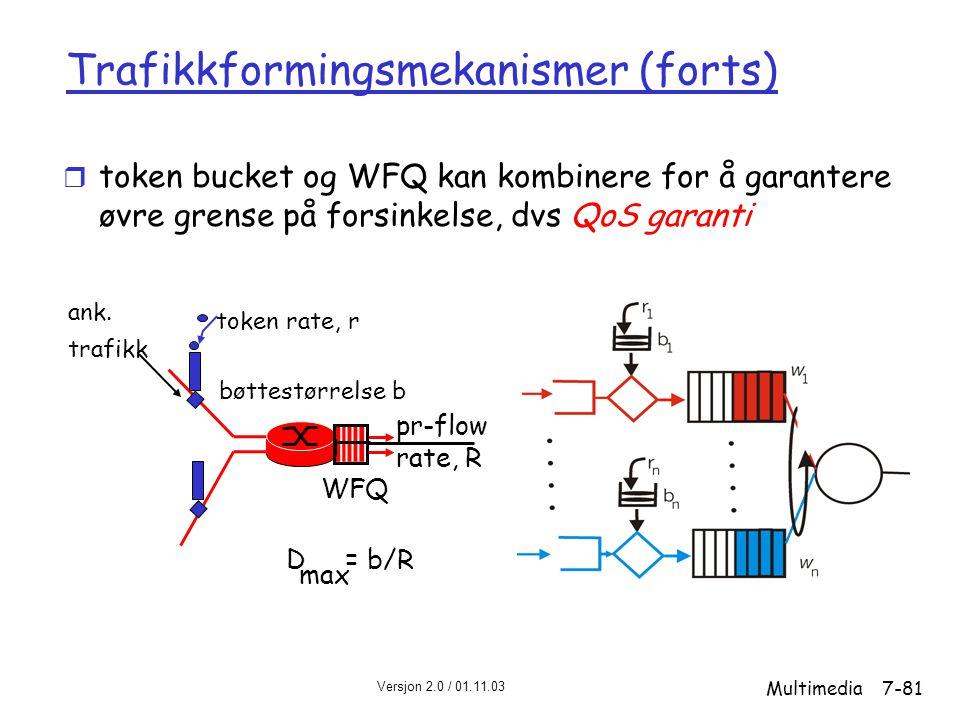 Versjon 2.0 / 01.11.03 Multimedia7-81 Trafikkformingsmekanismer (forts) r token bucket og WFQ kan kombinere for å garantere øvre grense på forsinkelse, dvs QoS garanti WFQ token rate, r bøttestørrelse b pr-flow rate, R D = b/R max ank.
