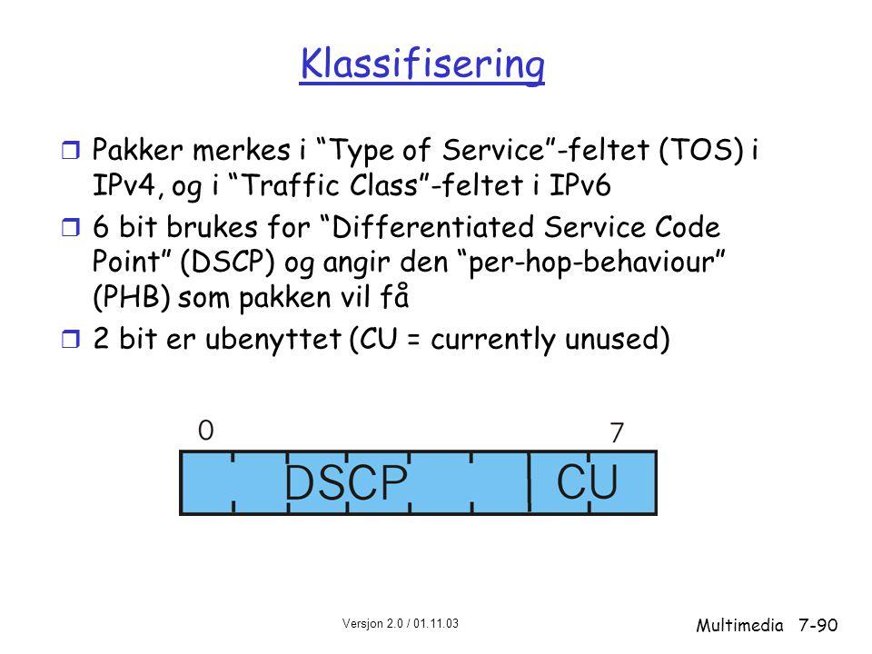 Versjon 2.0 / 01.11.03 Multimedia7-90 Klassifisering r Pakker merkes i Type of Service -feltet (TOS) i IPv4, og i Traffic Class -feltet i IPv6 r 6 bit brukes for Differentiated Service Code Point (DSCP) og angir den per-hop-behaviour (PHB) som pakken vil få r 2 bit er ubenyttet (CU = currently unused)