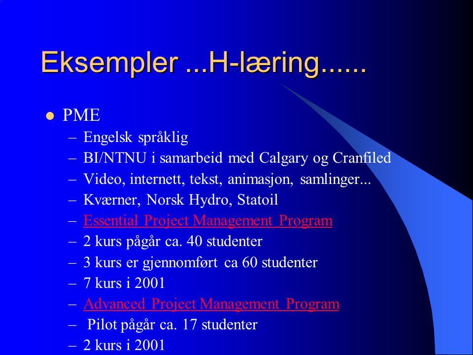 Hybrid Læring  Blanding mellom klasserom undervisning C-læring og e-læring (særlig nett-basert læring) –E-læring kan ikke brukes i alle type fagområder.
