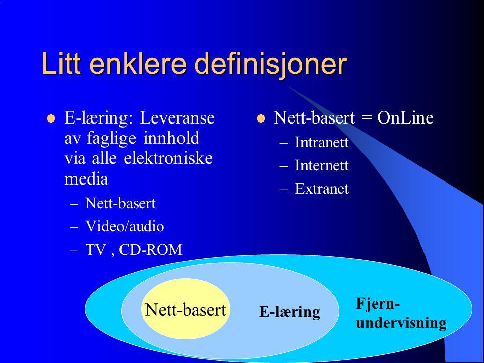 Litt enklere definisjoner  E-læring: Leveranse av faglige innhold via alle elektroniske media –Nett-basert –Video/audio –TV, CD-ROM  Nett-basert = OnLine –Intranett –Internett –Extranet Fjern- undervisning E-læring Nett-basert