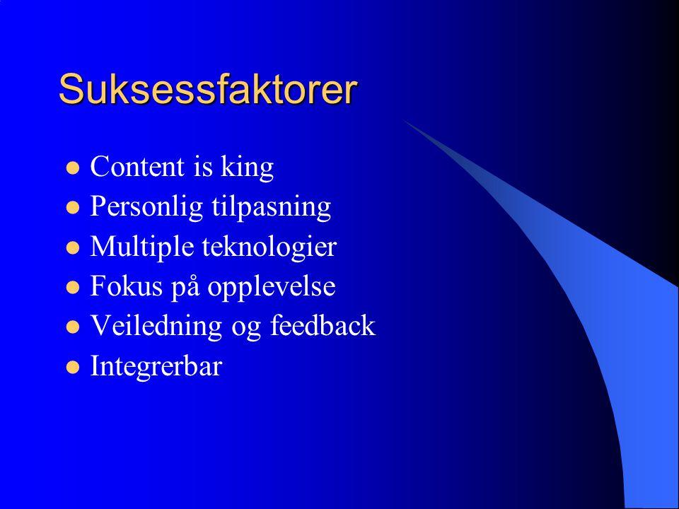 Suksessfaktorer  Content is king  Personlig tilpasning  Multiple teknologier  Fokus på opplevelse  Veiledning og feedback  Integrerbar