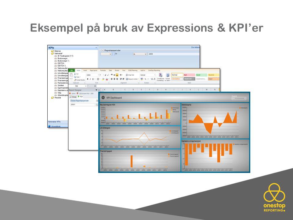 Eksempel på bruk av Expressions & KPI'er