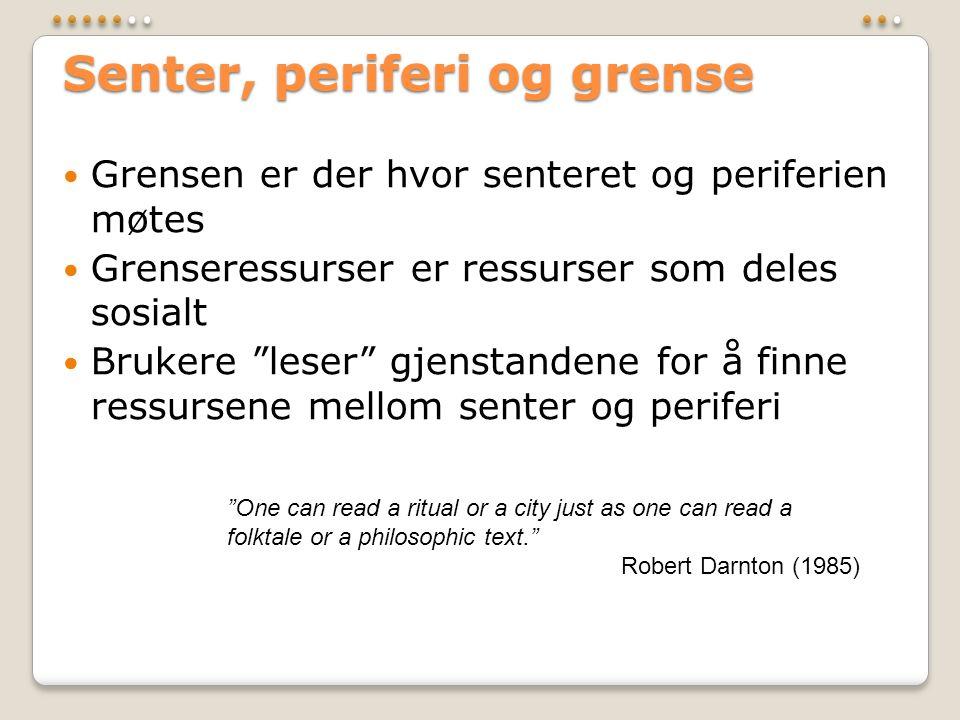 """Senter, periferi og grense  Grensen er der hvor senteret og periferien møtes  Grenseressurser er ressurser som deles sosialt  Brukere """"leser"""" gjens"""