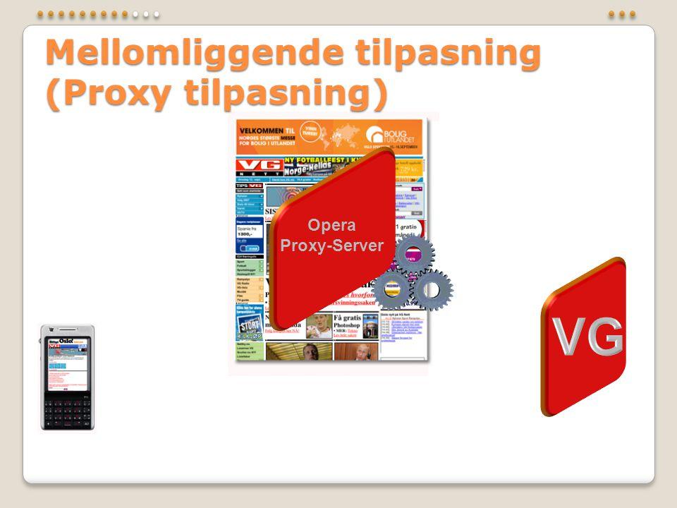 Mellomliggende tilpasning (Proxy tilpasning) Opera Proxy-Server