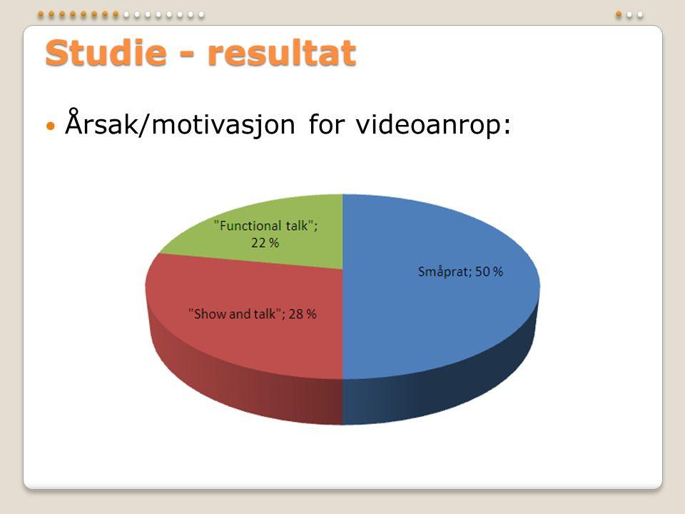 Studie - resultat  Årsak/motivasjon for videoanrop: