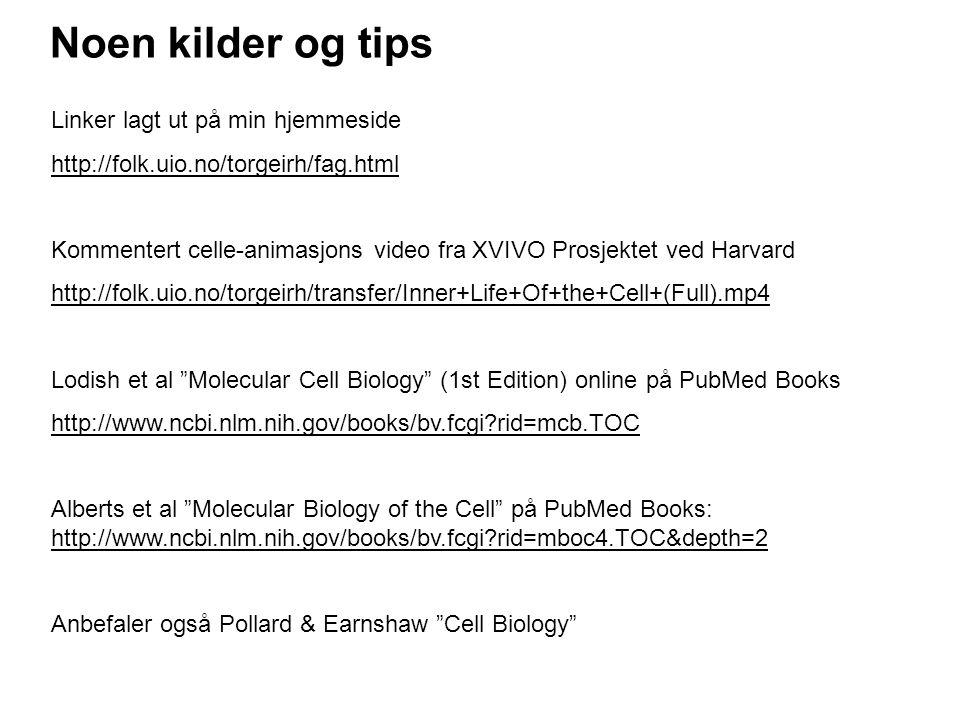 Noen kilder og tips Linker lagt ut på min hjemmeside http://folk.uio.no/torgeirh/fag.html Kommentert celle-animasjons video fra XVIVO Prosjektet ved Harvard http://folk.uio.no/torgeirh/transfer/Inner+Life+Of+the+Cell+(Full).mp4 Lodish et al Molecular Cell Biology (1st Edition) online på PubMed Books http://www.ncbi.nlm.nih.gov/books/bv.fcgi?rid=mcb.TOC Alberts et al Molecular Biology of the Cell på PubMed Books: http://www.ncbi.nlm.nih.gov/books/bv.fcgi?rid=mboc4.TOC&depth=2 Anbefaler også Pollard & Earnshaw Cell Biology