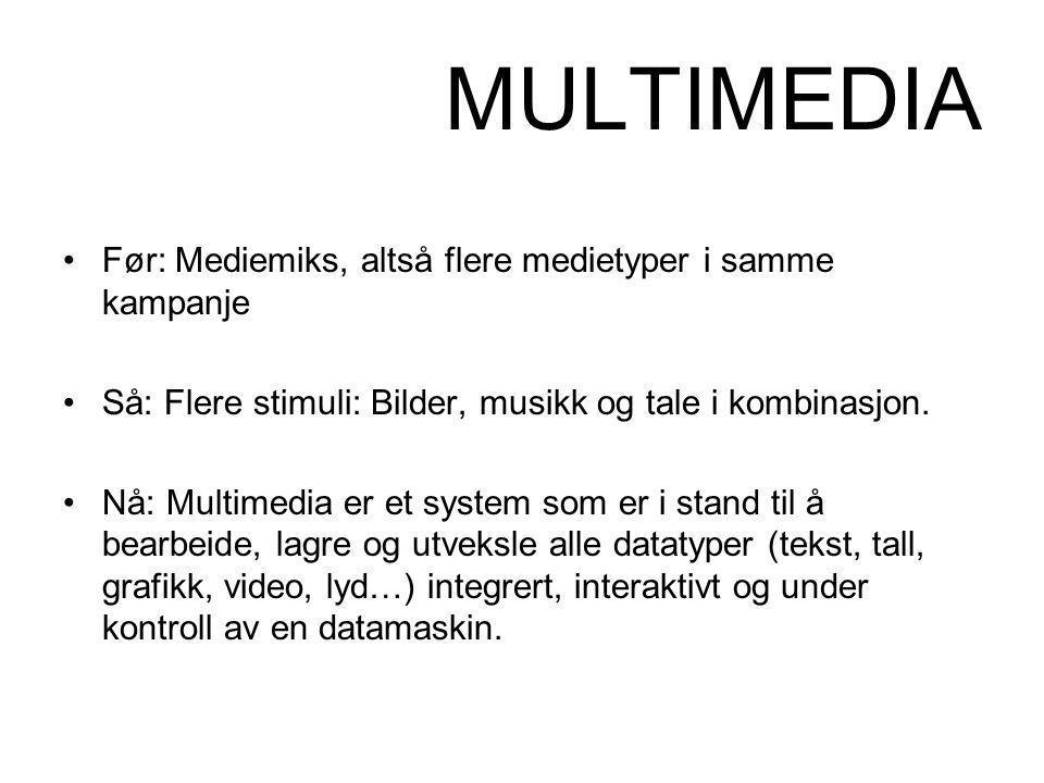 MULTIMEDIA •Før: Mediemiks, altså flere medietyper i samme kampanje •Så: Flere stimuli: Bilder, musikk og tale i kombinasjon. •Nå: Multimedia er et sy