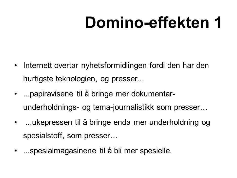 Domino-effekten 1 •Internett overtar nyhetsformidlingen fordi den har den hurtigste teknologien, og presser... •...papiravisene til å bringe mer dokum