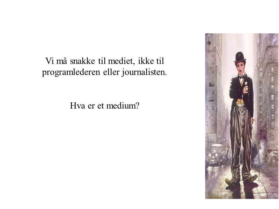Vi må snakke til mediet, ikke til programlederen eller journalisten. Hva er et medium?