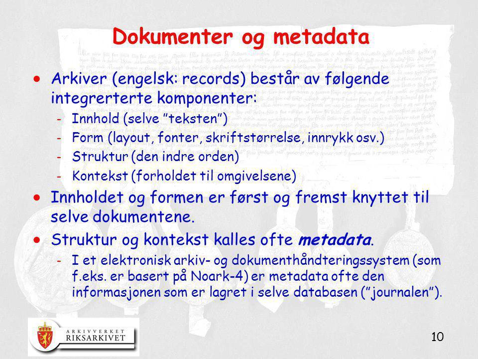 """10 Dokumenter og metadata  Arkiver (engelsk: records) består av følgende integrerterte komponenter: - Innhold (selve """"teksten"""") - Form (layout, fonte"""