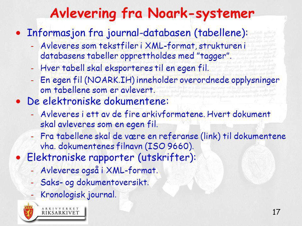 17 Avlevering fra Noark-systemer  Informasjon fra journal-databasen (tabellene): - Avleveres som tekstfiler i XML-format, strukturen i databasens tab
