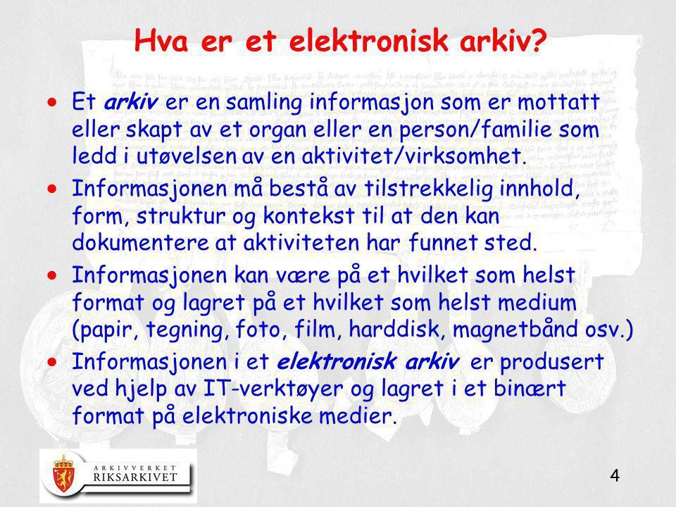 4 Hva er et elektronisk arkiv?  Et arkiv er en samling informasjon som er mottatt eller skapt av et organ eller en person/familie som ledd i utøvelse