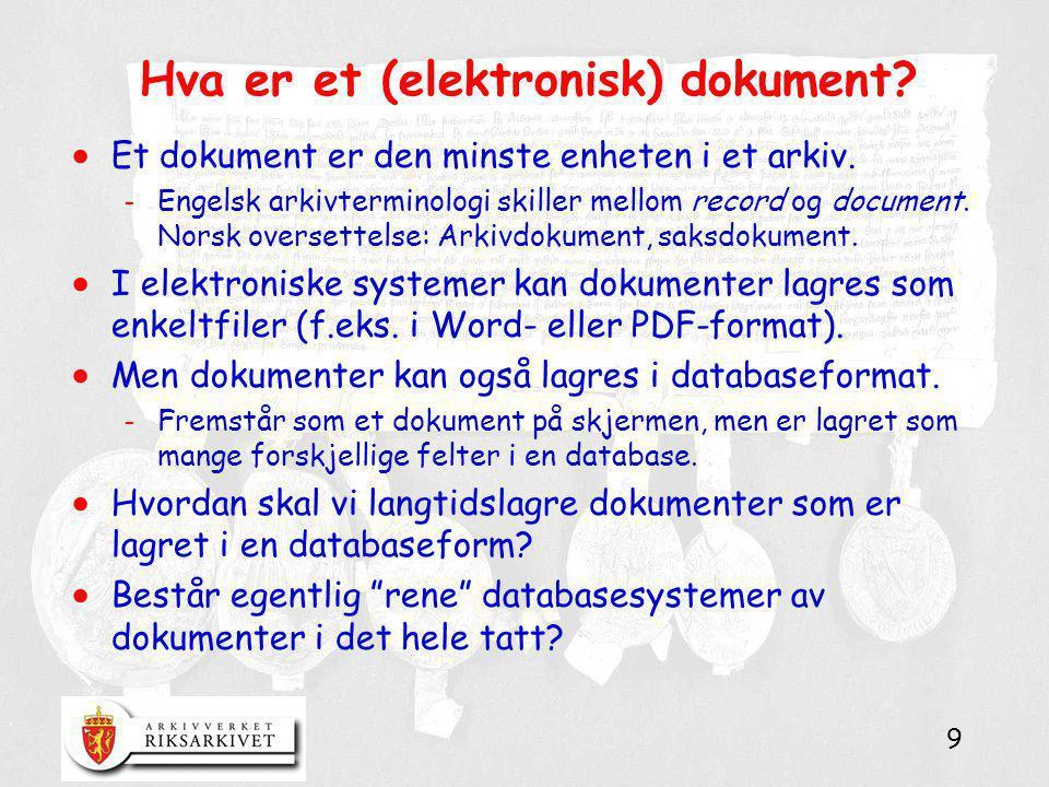 9 Hva er et (elektronisk) dokument?  Et dokument er den minste enheten i et arkiv. - Engelsk arkivterminologi skiller mellom record og document. Nors
