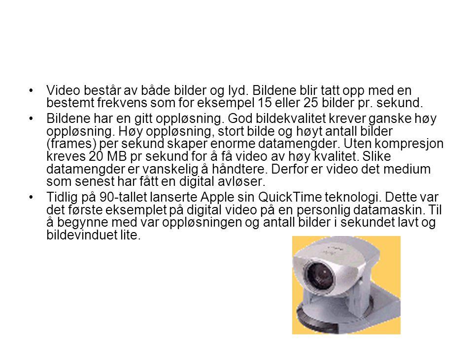 •Den enklest form for digital video representerer webkameraene.