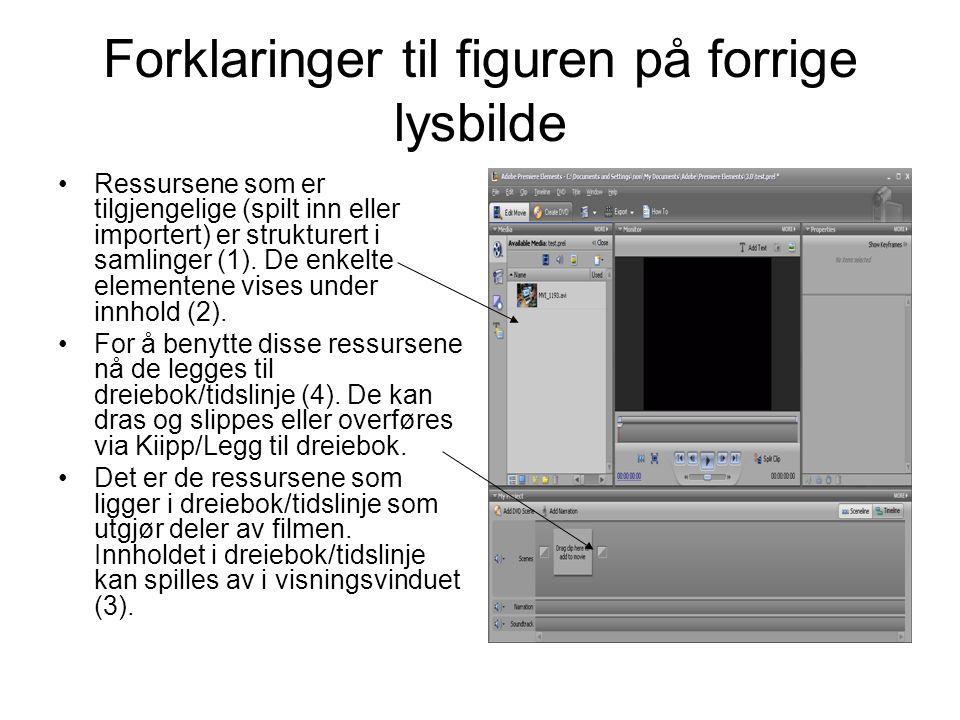 Forklaringer til figuren på forrige lysbilde •Ressursene som er tilgjengelige (spilt inn eller importert) er strukturert i samlinger (1).