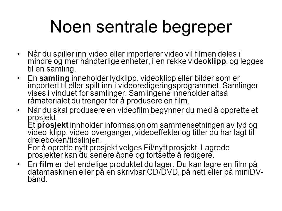 Noen sentrale begreper •Når du spiller inn video eller importerer video vil filmen deles i mindre og mer håndterlige enheter, i en rekke videoklipp, og legges til en samling.