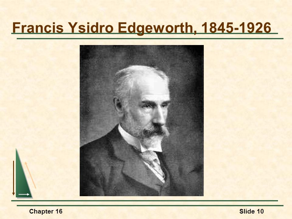 Chapter 16Slide 10 Francis Ysidro Edgeworth, 1845-1926