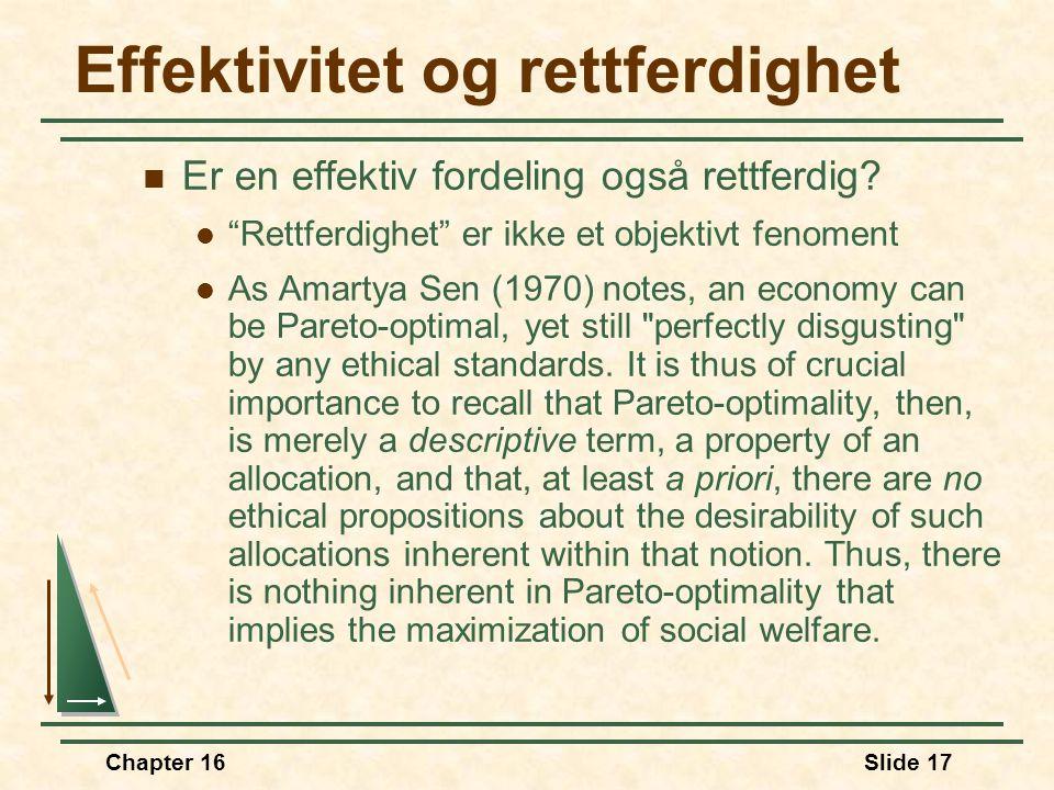 """Chapter 16Slide 17 Effektivitet og rettferdighet  Er en effektiv fordeling også rettferdig?  """"Rettferdighet"""" er ikke et objektivt fenoment  As Amar"""