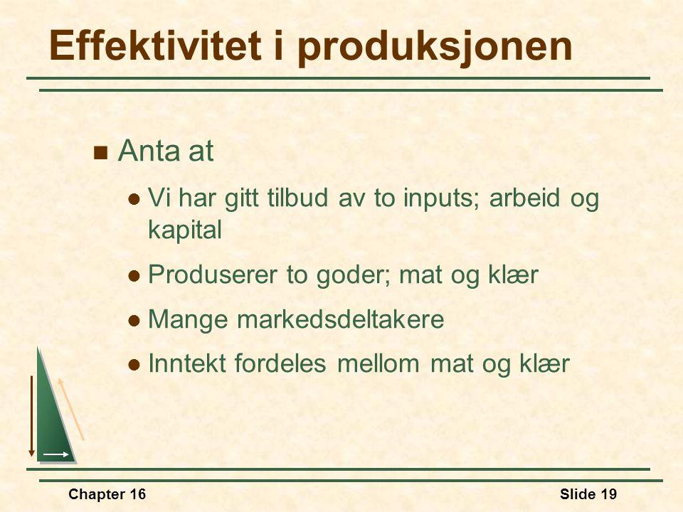 Chapter 16Slide 19 Effektivitet i produksjonen  Anta at  Vi har gitt tilbud av to inputs; arbeid og kapital  Produserer to goder; mat og klær  Man
