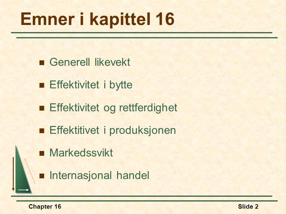 Chapter 16Slide 2 Emner i kapittel 16  Generell likevekt  Effektivitet i bytte  Effektivitet og rettferdighet  Effektitivet i produksjonen  Marke