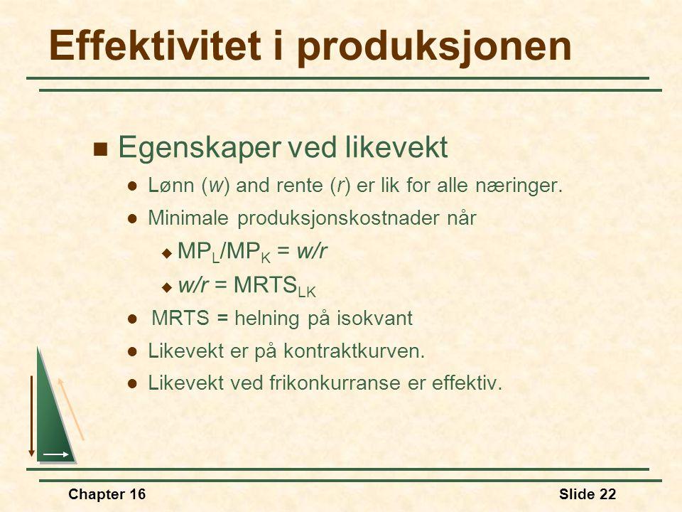 Chapter 16Slide 22 Effektivitet i produksjonen  Egenskaper ved likevekt  Lønn (w) and rente (r) er lik for alle næringer.  Minimale produksjonskost