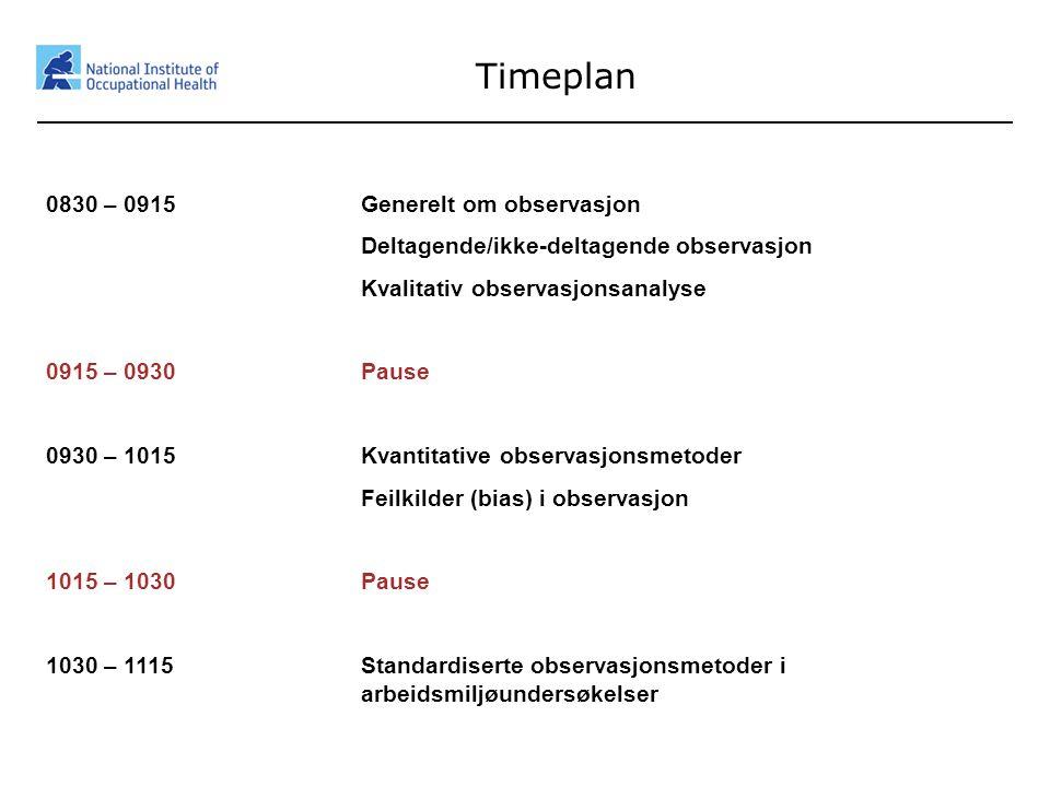 2 Timeplan 0830 – 0915 Generelt om observasjon Deltagende/ikke-deltagende observasjon Kvalitativ observasjonsanalyse 0915 – 0930Pause 0930 – 1015Kvant