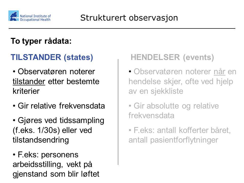23 Strukturert observasjon To typer rådata: TILSTANDER (states) • Observatøren noterer tilstander etter bestemte kriterier • Gir relative frekvensdata