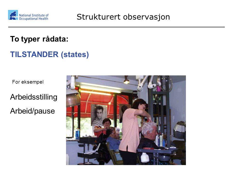 24 Strukturert observasjon To typer rådata: TILSTANDER (states) For eksempel Arbeidsstilling Arbeid/pause
